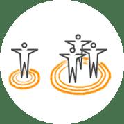 Piktogramm zum Thema: Aktivieren Sie Einzelpersonen und Gruppen
